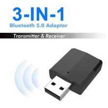 Newest 3 In1Bluetooth Stereo Black Audio Receiver Transmitter 5.0 3.5mm AUX Bluetooth Wireless Adapter Transmitter For PC TV Car ts bt35f03 bluetooth 3 0 audio transmitter black