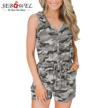 SEBOWEL Womans Camouflage Print Playsuits Romper 2019 Summer Casual Beach Camo Short Jumpsuits Female Button V-neck Playsuit