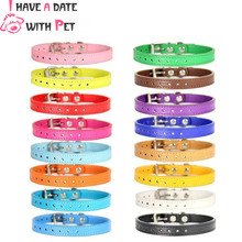 Colorful Dog Collar Neck 15-31 cm PU Leather Leash for Small Dogs Retractable Cat Collars Chihuahua