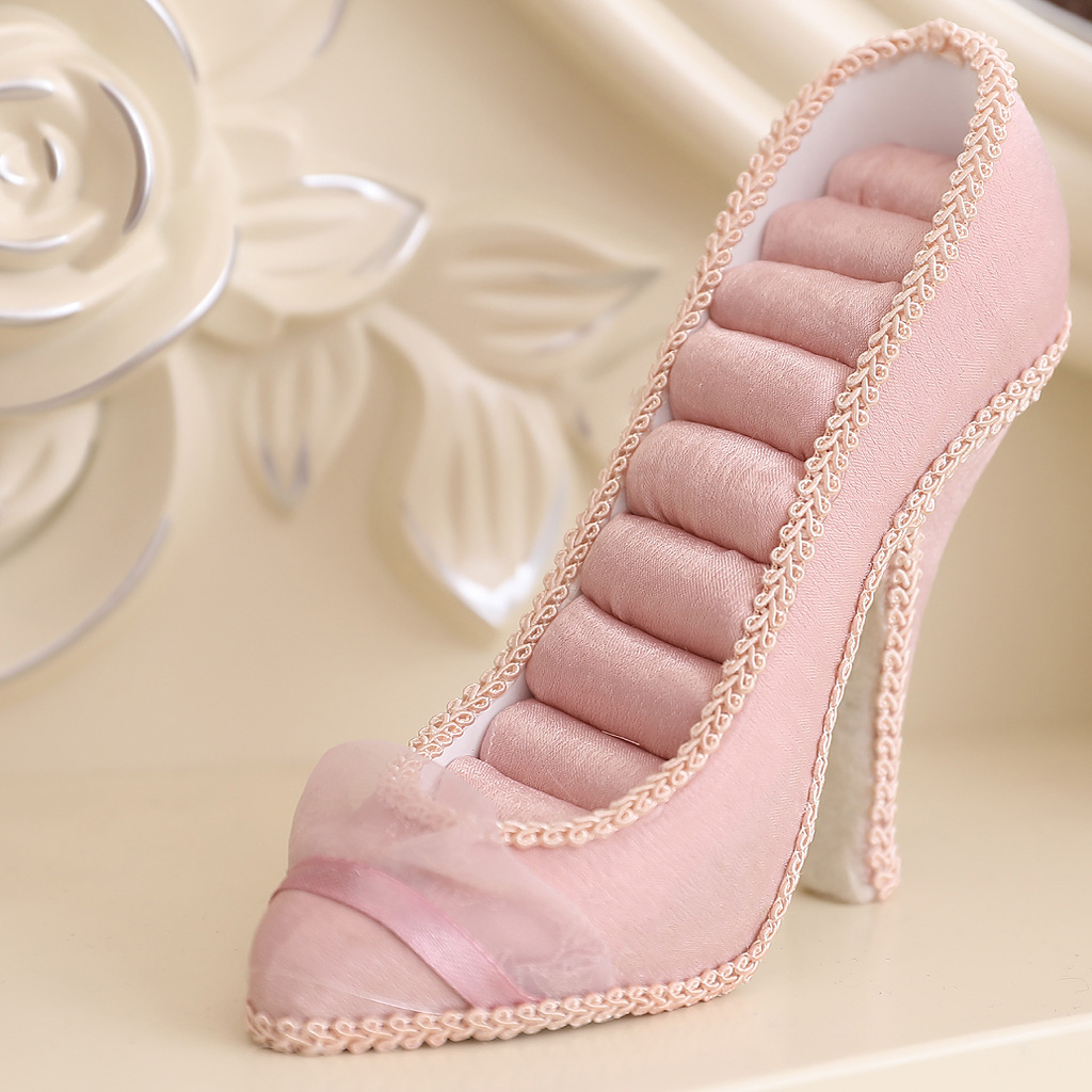 Elegant Cute Lady High-heel Shoes Ring Display Jewelry Holder Pink Resin 8 Slots Insert Wedding Party Gift