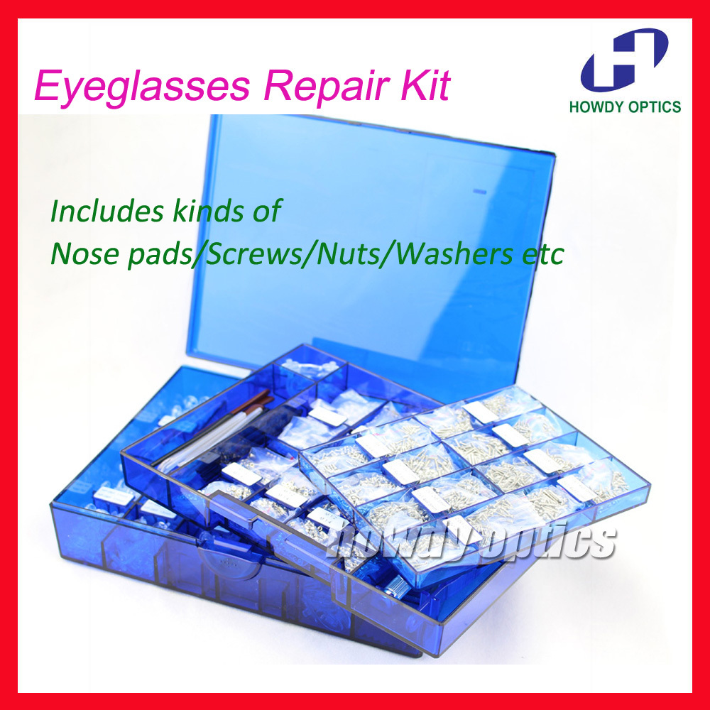 New Eyeglasses Repair Kit Brillen Schrauben Nasenpads Muttern Unterlegscheiben Tipps Optical Supplies Tool Set Optical Store Verwenden