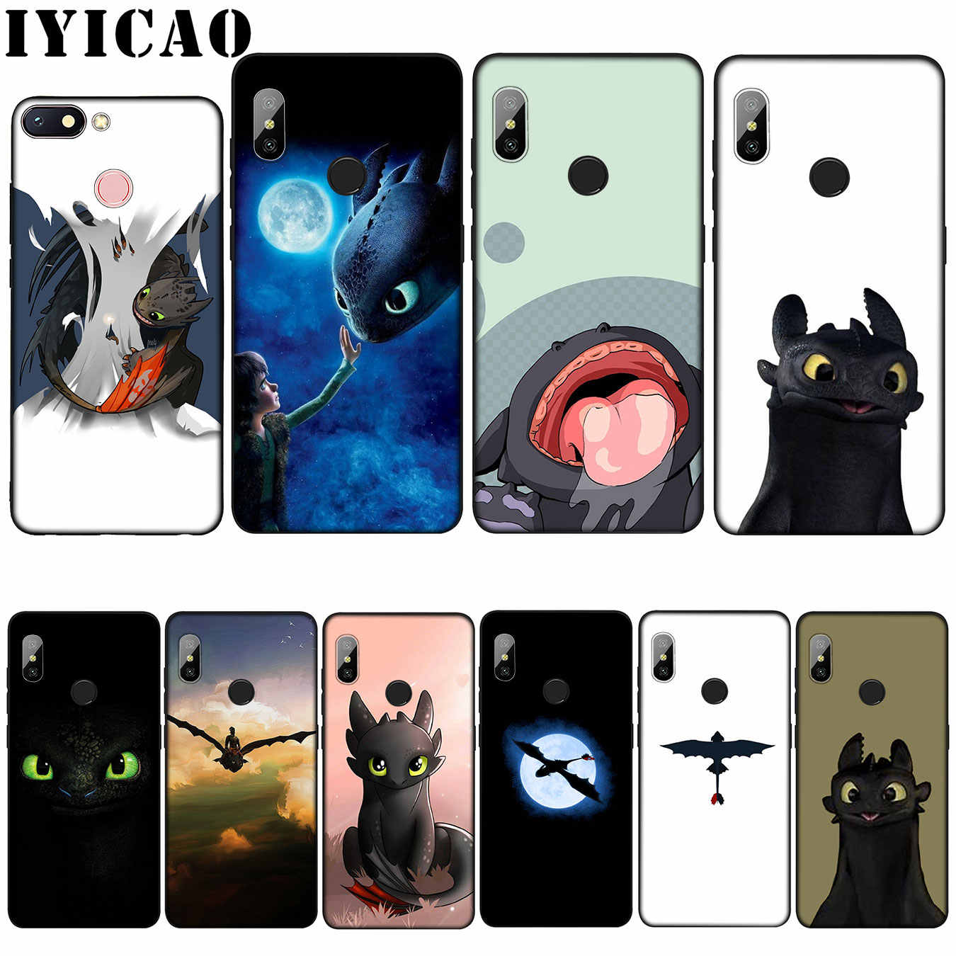 IYICAO sdentato How To Train Your Dragon Custodia Morbida per Xiao mi mi 9 8 A2 lite A1 6 POCOPHONE f1 MAX 3 mi 9 mi 8 mi a2