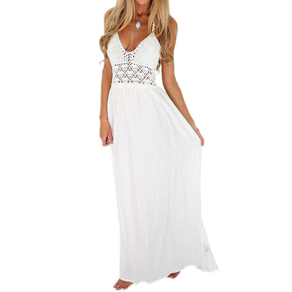 Women Summer Beach font b Dress b font Sexy Backless Haltern Crochet Lace font b Dress