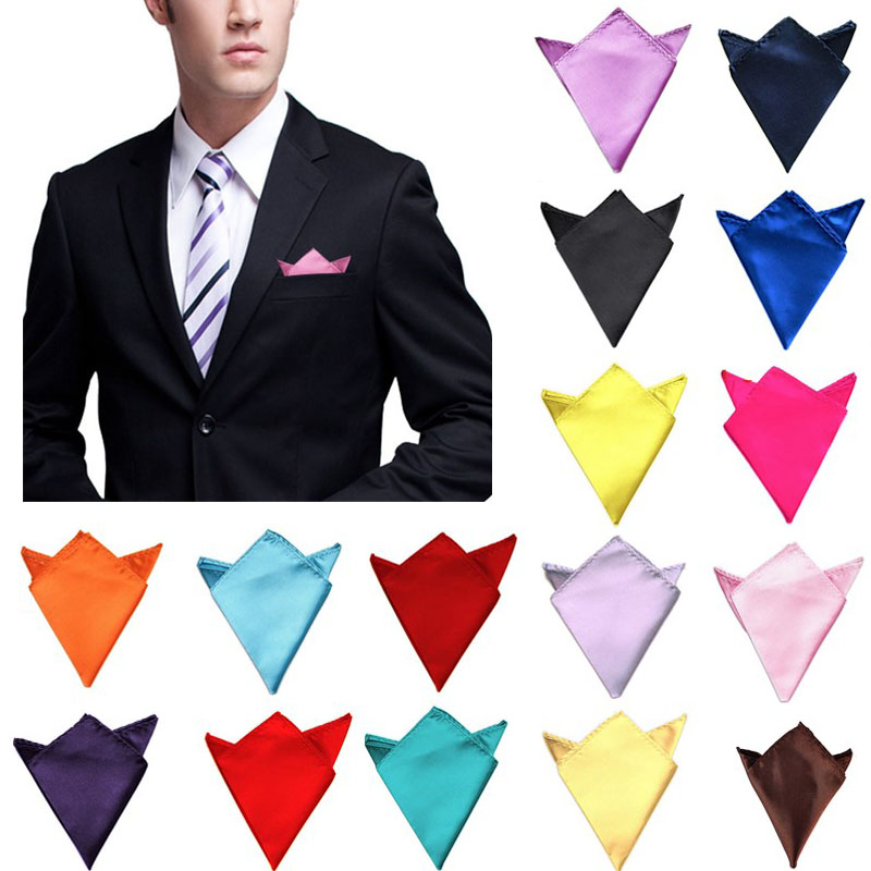 Men Solid Plain Satin Pre Folded Pocket Square Wedding Party Hanky Handkerchief
