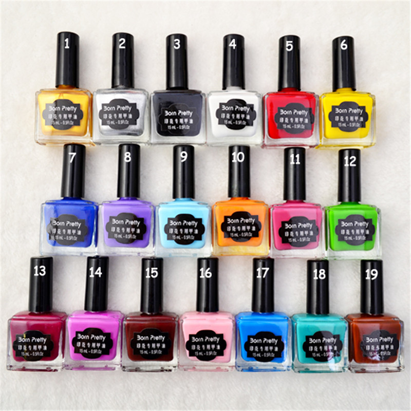 BORN FUNKSJON 15ml Candy Colors Nail Art Stamping Polsk Søt Stil Manikyr Lakk Plate Trykking Polsk Nail Art Decoration