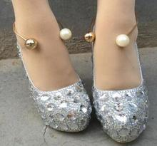 Fashion Golden Plated Pearl Beads Metal Shoes Band