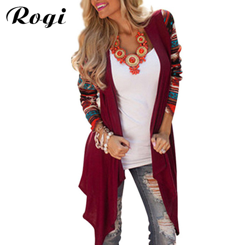 Rogi Women Poncho Cardigan Blouses 2018 Irregular Geometric Printed Jumper Tops Open Front Loose Aztec Sweater Overcoat Blusas como vestir con sueter mujer
