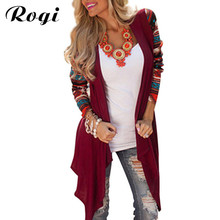 827b1c8ce0b63 Rogi Women Poncho Cardigan Blouses 2018 Irregular Geometric Printed Jumper  Tops Open Front Loose Aztec Sweater · 4 Colors Available