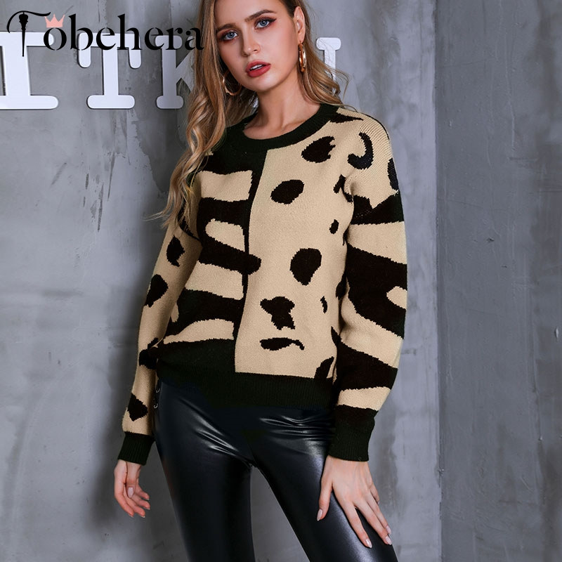 Glamaker Khaki Pullover Sweater Women Winter Patchwork Lady Sweaters Female Knitted Pattern Jumper Sweater Pull Femme Black 2019