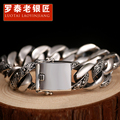 Skills old silversmith 100% 925 Silver tang grass grain bracelets Punk rock locomotive male jewelry Coarse smooth big bracelet