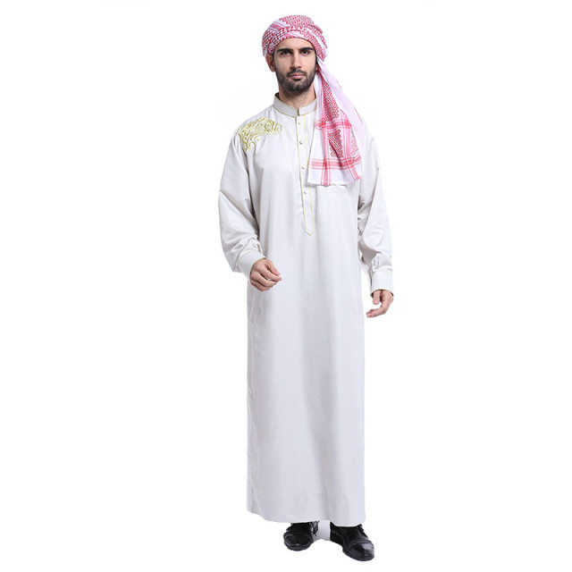 Fashion white Mens thobe arabic man dress islamic men saudi clothing ...