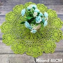 Salvamanteles de tela para mesa de té de ganchillo de flores de algodón de encaje verde Vintage redondo de 40CM para decoración de banquete de bodas y Navidad