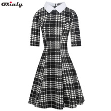 Oxiuly 50s 60s Turn Down Collar Houndstooth Plaid Dresses Vintage Dress Fall Women Print Spring Casual Shirt Vestidos