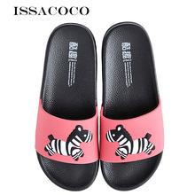 ISSACOCO Women Summer Flat Home Slippers Womens Cute Animal Fashion Beach Couple Pantuflas Chinelos