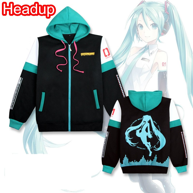 2018 Hatsune Miku HOODIE hooded sweatshirt outwear women clothing cosplay costume girls clothes spring zipper coats  jackets