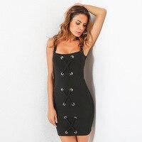 TAUPIN AM Lace Up Tank Dress Women Black Sexy Sleeveless Backless Party Dresses Elegant Mini Bodycon