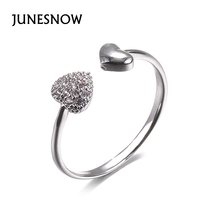 JUNESNOW Wholesale Fashion Lady Heart Cut Sweet AAA Multi-Color CZ Silver Ring For Women Gift Love Engagement Jewelry ZY1006