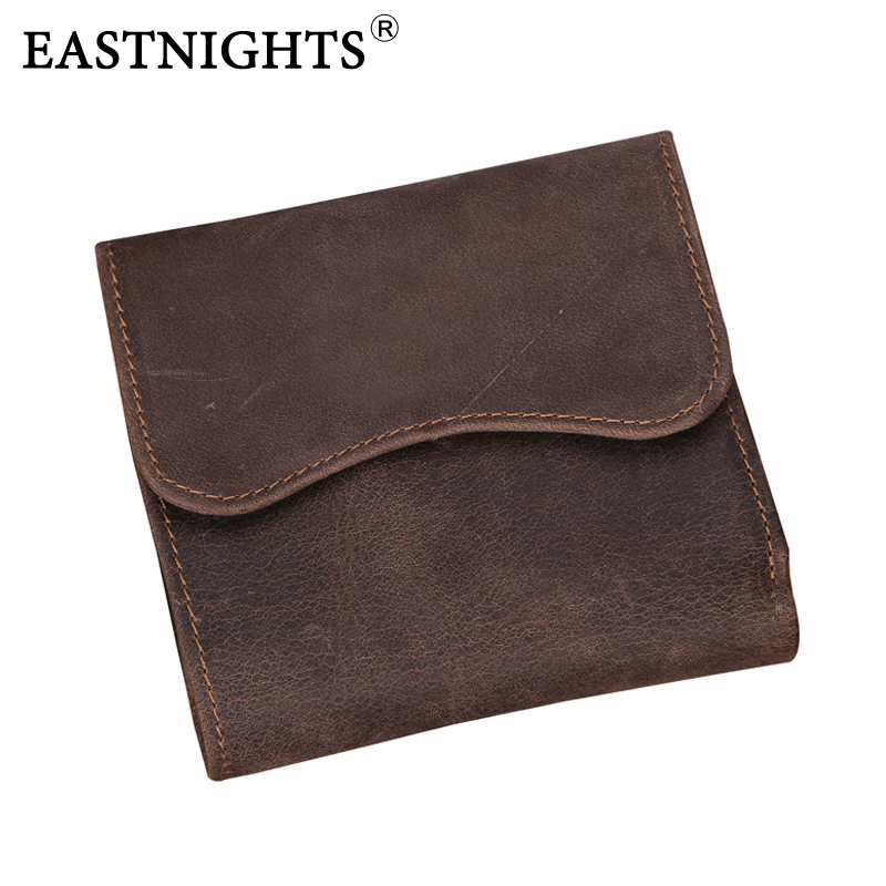все цены на EASTNIGHTS Vintage Crazy horse Handmade Leather Men Wallets Multi-functional Cowhide coin purse genuine leather wallet TW1603