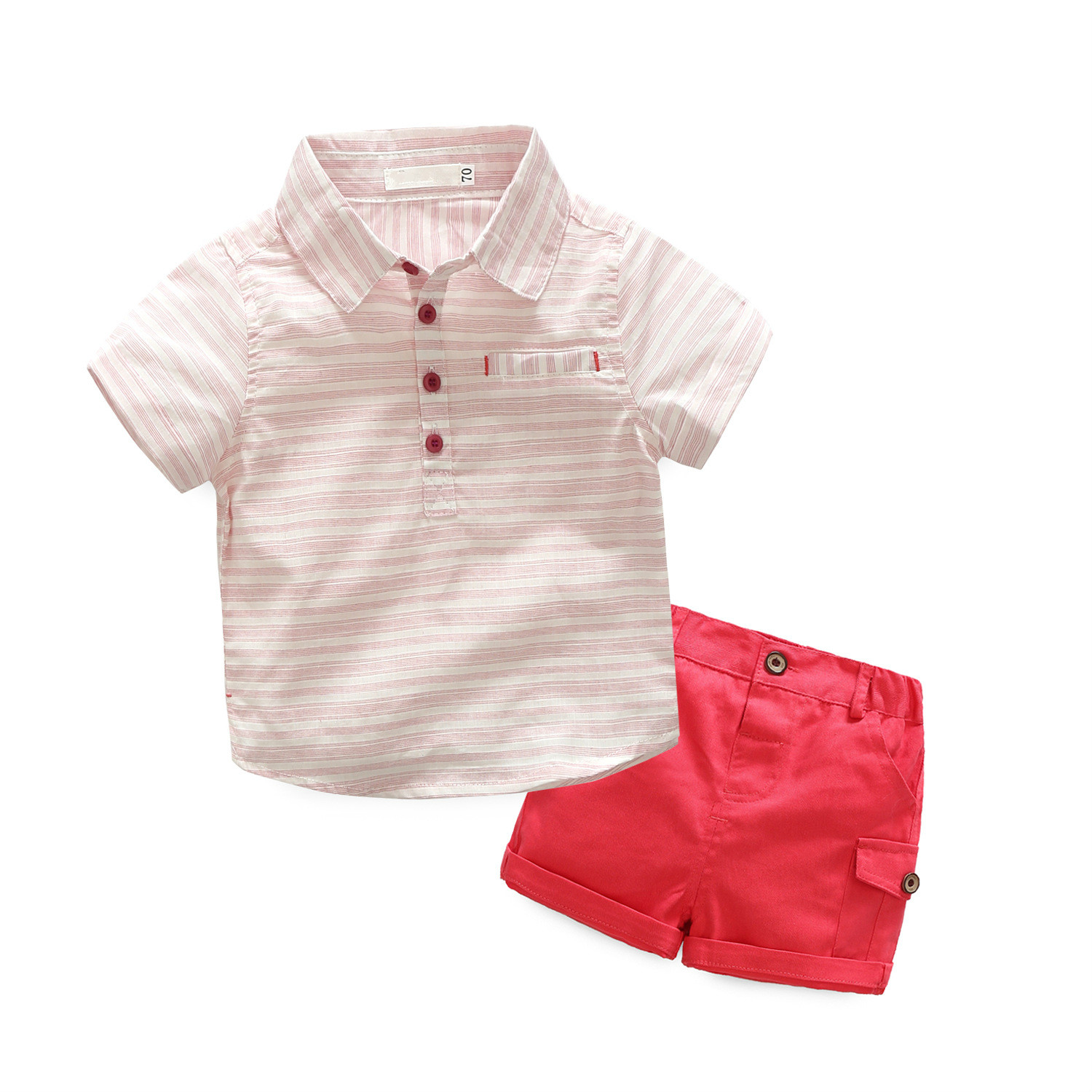 Baby Boys Pink Striped Clothing Sets Kids Short sleeves POLO Neck Shirt And Shorts Children Summer Clothes Sets For 70 95cm T008