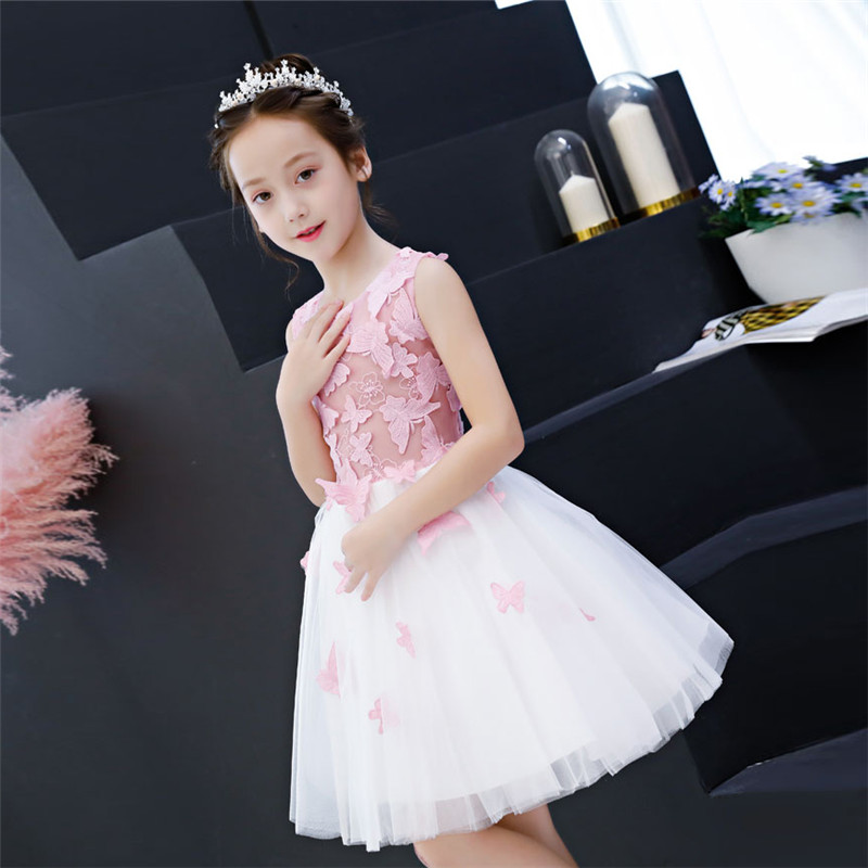 Baby Kids Sweet Embroidery Butterfly Pattern Birthday Evening Party Prom Mesh Dress Children Girls Host Costume Dress Clothes graceful butterfly pattern high waist dress