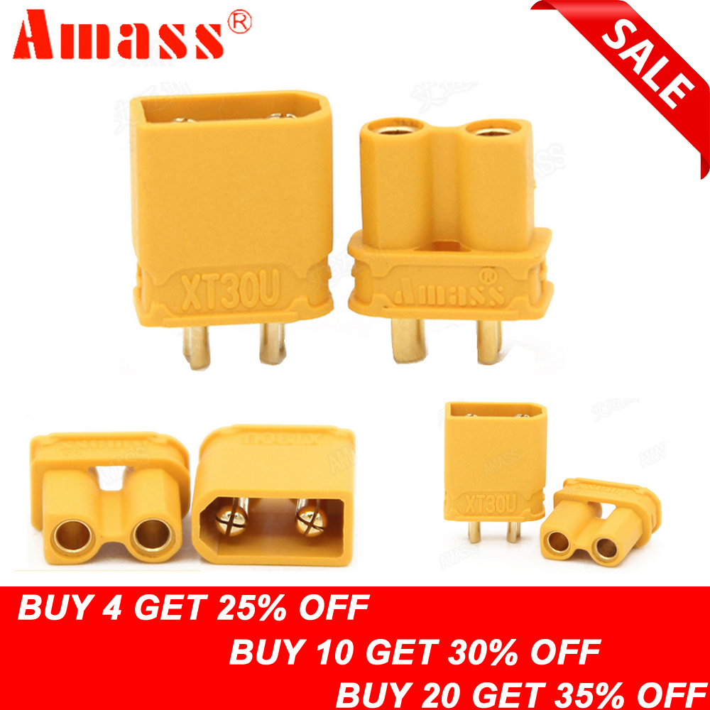 10pcs Amass XT30U Male Female Bullet Connector Plug the Upgrade XT30 For RC FPV Lipo Battery RC Quadcopter (5 Pair)10pcs Amass XT30U Male Female Bullet Connector Plug the Upgrade XT30 For RC FPV Lipo Battery RC Quadcopter (5 Pair)