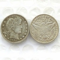 90 Silver 1901 Barber Quarter Dollars Retail Wholesale USA Copy Coins