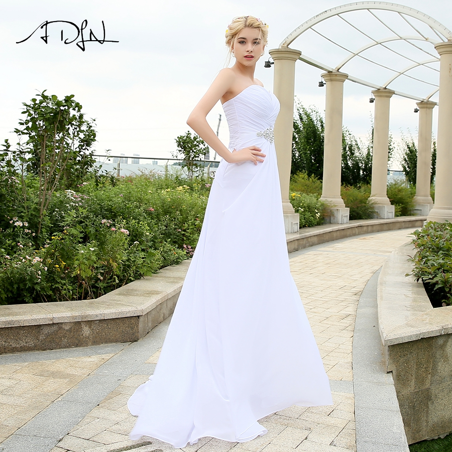 Image 3 - ADLN Real Model Beach Wedding Dress Sweetheart Pleats Crystal  Belt Chiffon Wedding Dresses Plus Size robe de mariee Lace up  BackWedding Dresses