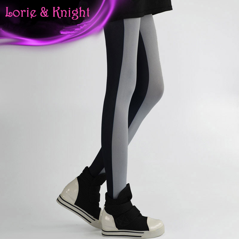 Japanese Harajuku Contrast Color Patchwork Printed Hosiery Female Fashion Tights