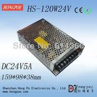 Nieuwe ontwerp, kleine size Stroomvoorziening HS-120W 24V5A garantie voor twee jaar 159*98*38mm