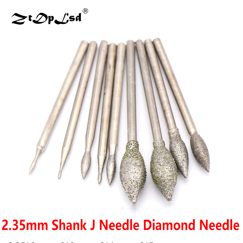 1Pcs 2.35mm Shank J Diamond Needle Jade Peeled Polishing Grinding Head Bur Bit Tool Burrs Metal Stone Engraving Carving Tools