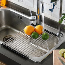 Lekitchen Sink Drainage Basket Kitchen Washbasin Stainless Steel Rack Filter Curtain Leak Tank Folding Reception