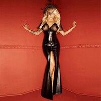 Sexy Black Vinyl Dresses V neck Backless Women Leather Wet Look Clubwear Split Mesh Maxi Dress Transparent Long Night Club Dress