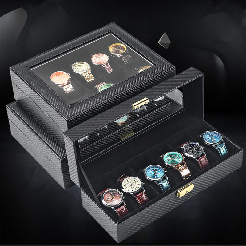 Carbon Fiber Leather Watches Storage Box With Key Black Leather Watch Display Cases Box New Mechanical