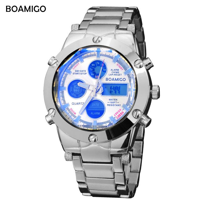 Prix pour Montres hommes marque de luxe BOAMIGO sport militaire montres Dual Time Quartz Analogique Horloge Numérique LED bracelet en acier montres