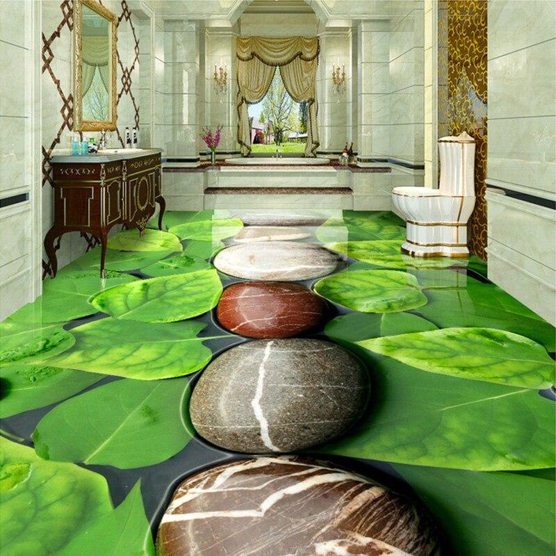 PVC Wasserdicht Self Adhesive 3D Boden Wandbild Kopfsteinpflaster Green  Leaf Wohnzimmer Bad Boden Dekoration Vinyl Tapete Wandmalereien