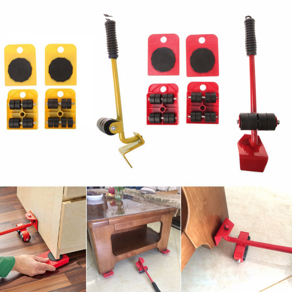 Furniture Mover Tool Set Furniture Transport Lifter Heavy Stuffs Moving Tool 4 Wheeled Mover Roller+1 Wheel Bar Hand Tool Set
