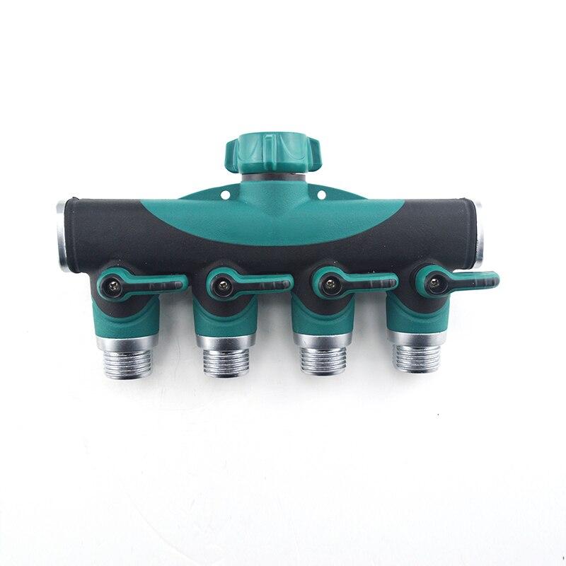 3/4 ANSI 4 manera conector de manguera de jardín manguera de riego spliter manguera grifo Válvulas apagado conector adaptador 714fm-w2