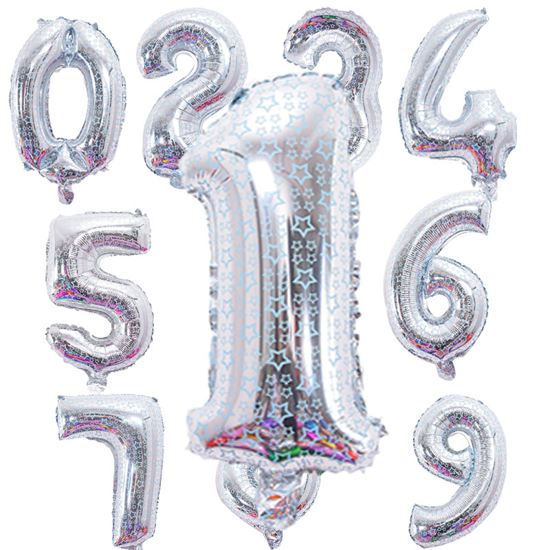 16 inches Silver star printing Number Foil Balloons Digit Air Ballons happy Birt