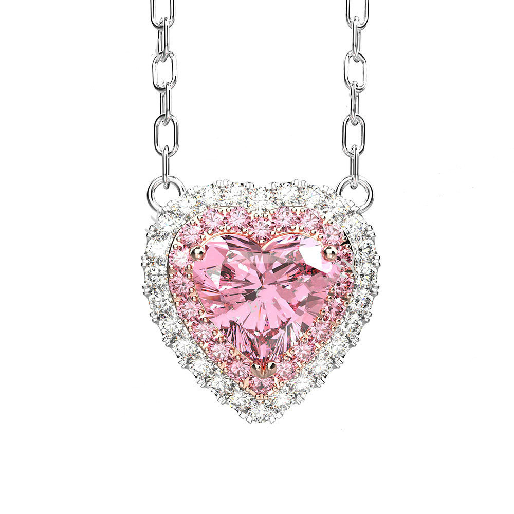 OneRain Romantic 100% 925 Sterling Silver Heart Pink Sapphire Gemstone White Gold Earrings Ring Necklace Jewelry Set Wholesale