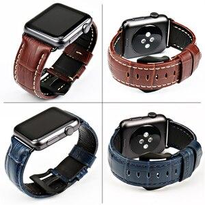 Image 2 - Maikes moda azul pulseira de couro para apple assistir banda 44mm 40mm 42mm 38mm série 4 3 2 iwatch pulseira pulseiras