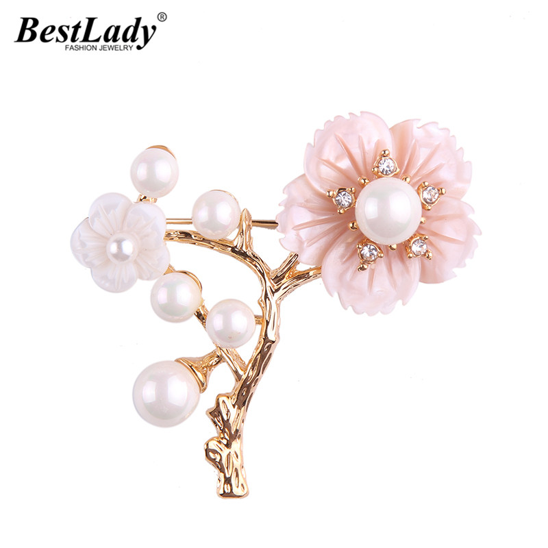 Best lady Fashion Jewelry Luxury Freshwater Pearl Flowers Brooches Pins Up Clip Scarf Shoulder Accessory For Women Hot Sale 5396