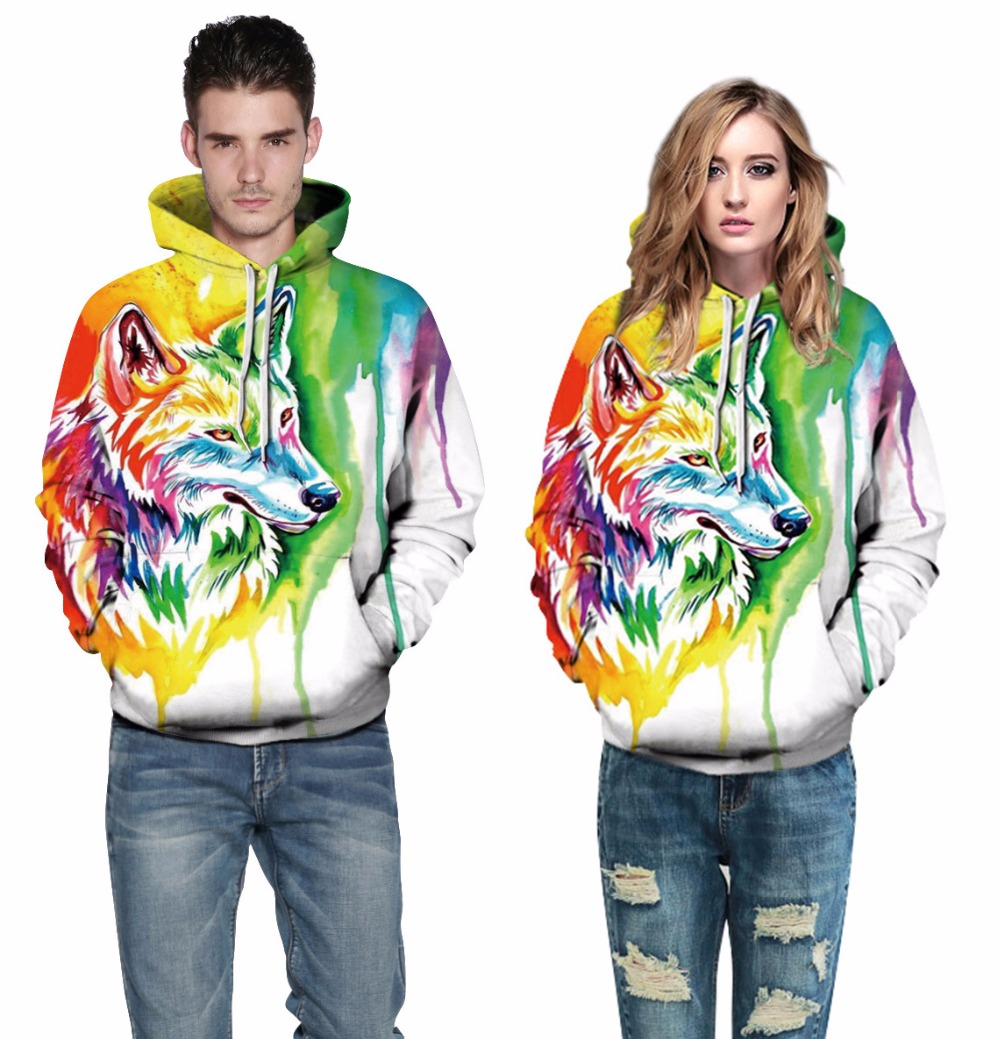Adogirl 2017 Fashion Colorful Wolf 3D Print Hooded Sweatshirts Autumn Women Men Unisex Hoodies Loose Casual Pullover Tracksuits