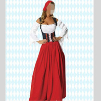 2016 German Beer Maid Cosplay Role Play Stage Show Long Dresses Strapless Bandage Women Clothing Halloween Costumes Red Dress