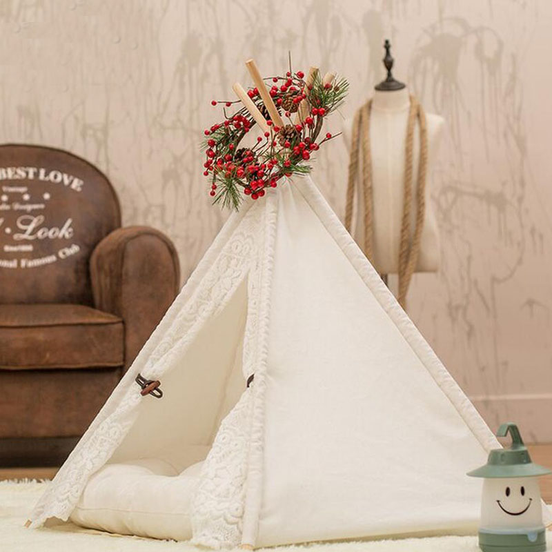 Lace Cotton Pet Puppy Cat Kitten Nest Play Toy House Play <font><b>Kennel</b></font> Teepee Tent Lovely Warm Small <font><b>Dog</b></font> Teddy Indoor Bed ZA2960 image