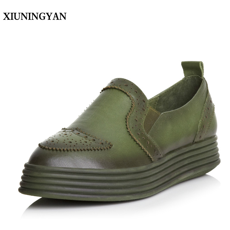 XIUNINGYAN Spring and Autumn Womens Flat Shoes Luxury Brand Real Leather Woman Loafers Casual Slip on Women Flats Platform Shoes spring autumn women shoes genuine leather flats loafers flat platform casual fashion round toe slip on mesh transparent flower