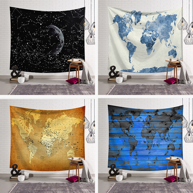 New Galaxy Tapestries Map Printed Wall Hanging Decoration Tapestry Beach Mat 100*150cm 130*150cm, 150*200cm 150*230cm