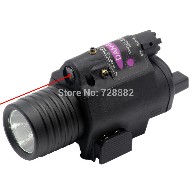 2 in 1 Hunting Optical Red Dot Laser Sight + Compact Tactical Flashlight Torch Combo with Rail Mount