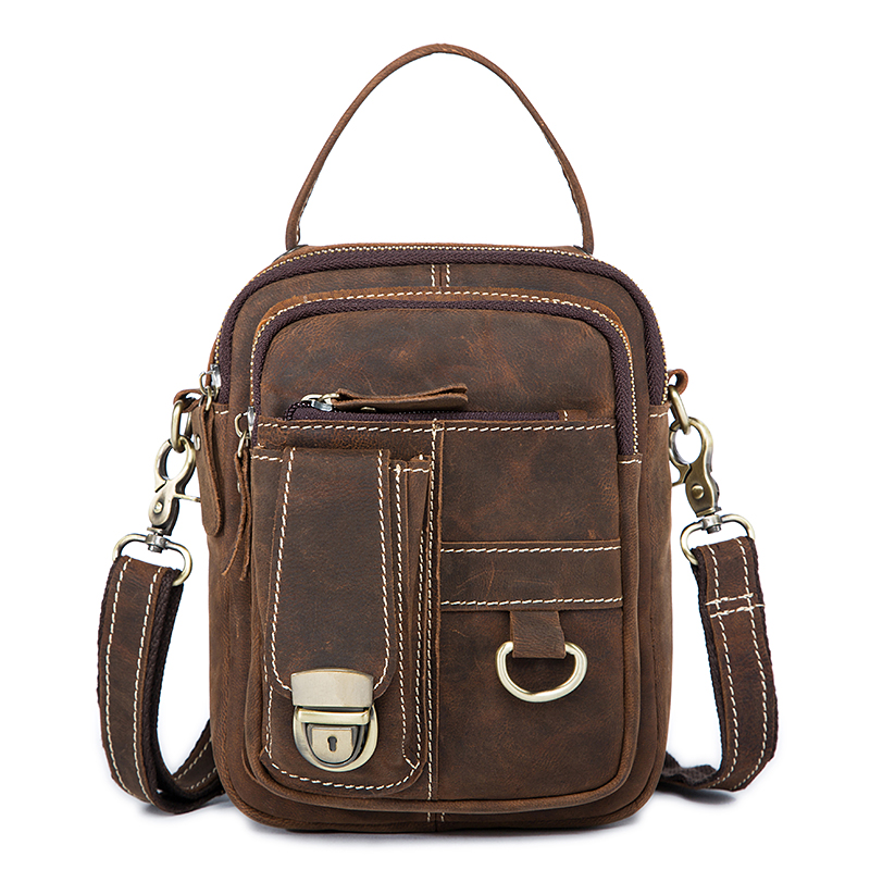 New Crazy Horse Genuine Leather Men Waist Bag Messenger Bags Casual Small Flap Shoulder Crossbody Bags Male Leather HandbagsNew Crazy Horse Genuine Leather Men Waist Bag Messenger Bags Casual Small Flap Shoulder Crossbody Bags Male Leather Handbags