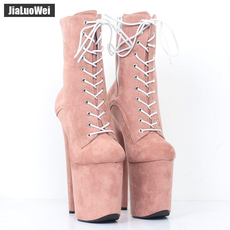jialuowei 20CM Extreme High Heels Platform Boots Lace Up Pole ... 4f71c598e89e