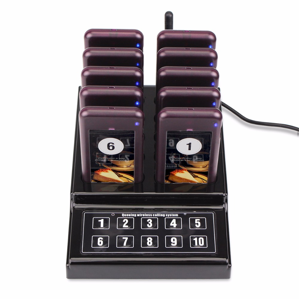 1 Transmitter + 10 Pagers Wireless 433.92MHz Guest Paging Queuing System For Restaurant Clinic Church Cafe F4529A guest paging system for restaurant services with one set of 1 display 2 watches and 5 table buttons shipping free